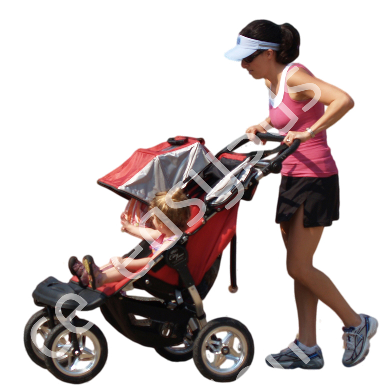 (Single) Casual People V. 2 #029 woman, walking with stroller
